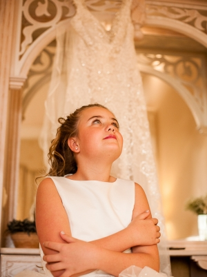 Young lady dreaming about her own weddings