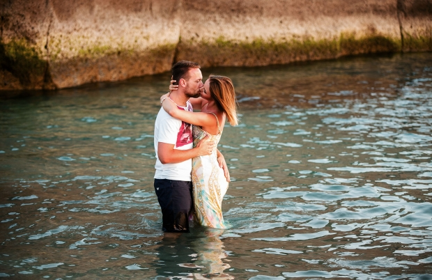 Hot couple in water